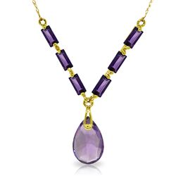 Genuine 4.35 ctw Amethyst Necklace Jewelry 14KT Yellow Gold - REF-30A7K