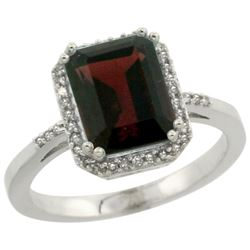 Natural 2.63 ctw Garnet & Diamond Engagement Ring 10K White Gold - REF-33F8N