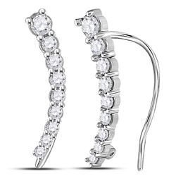 0.25 CTW Diamond Graduated Journey Climber Earrings 10KT White Gold - REF-19H4M