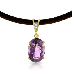 Genuine 7.56 ctw Amethyst & Diamond Necklace Jewelry 14KT Yellow Gold - REF-35K5V