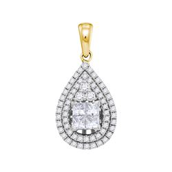 1.01 CTW Princess Diamond Teardrop Cluster Pendant 14KT Yellow Gold - REF-89H9M