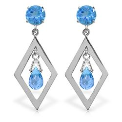 Genuine 2.4 ctw Blue Topaz Earrings Jewelry 14KT White Gold - REF-39N3R