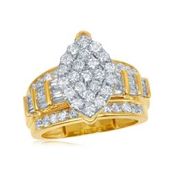 1.97 CTW Diamond Oval Cluster Bridal Engagement Ring 10KT Yellow Gold - REF-134K9W