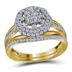 1 CTW Princess Diamond Halo Bridal Engagement Ring 14KT Yellow Gold - REF-97X4Y