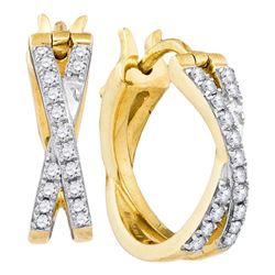 0.37 CTW Pave-set Diamond Double Row Crossover Hoop Earrings 10KT Yellow Gold - REF-41Y9X