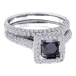 1.25 CTW Black Color Diamond Bridal Wedding Engagement Ring 14KT White Gold - REF-82K4W