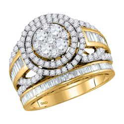 1.94 CTW Diamond Halo Bridal Engagement Ring 14KT Yellow Gold - REF-179M9H