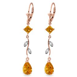 Genuine 3.97 ctw Citrine & Diamond Earrings Jewelry 14KT Rose Gold - REF-44M9T