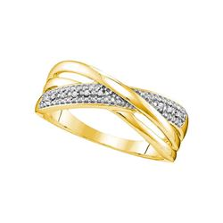 0.02 CTW Diamond Crossover Ring 10KT Yellow Gold - REF-14N9F