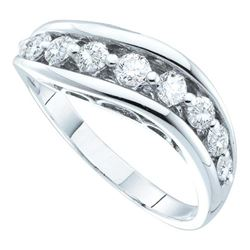 0.51 CTW Pave-set Diamond Arched Ring 14KT White Gold - REF-41H9M