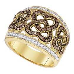 0.58 CTW Brown Color Diamond Heart Ring 10KT Yellow Gold - REF-44Y9X