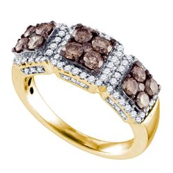 1.35 CTW Cognac-brown Color Diamond Cluster Ring 10KT Yellow Gold - REF-82X4Y