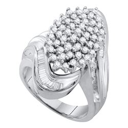 1.03 CTW Diamond Wide Cluster Ring 10KT White Gold - REF-75H2M