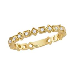 0.11 CTW Diamond Squares Stackable Ring 10KT Yellow Gold - REF-14Y9X