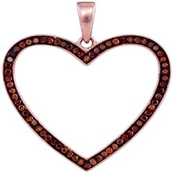 0.20 CTW Red Color Diamond Heart Love Pendant 10KT Rose Gold - REF-32H9M