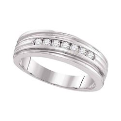 0.25 CTW Mens Diamond Ridged Edges Wedding Anniversary Ring 10KT White Gold - REF-41M9H