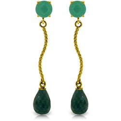 Genuine 7.9 ctw Emerald & Green Sapphire Corundum Earrings Jewelry 14KT Yellow Gold - REF-28F9Z