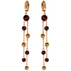 Genuine 8.99 ctw Garnet & Citrine Earrings Jewelry 14KT Rose Gold - REF-101M2T