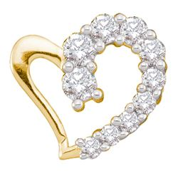 0.18 CTW Diamond Heart Love Pendant 14KT Yellow Gold - REF-14W9K