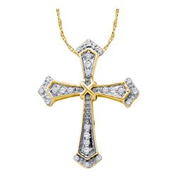 0.10 CTW Diamond Cross Pendant 10KT Yellow Gold - REF-10W5K