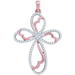 0.25 CTW Diamond Cross Pendant 10KT Rose Gold - REF-24W2K
