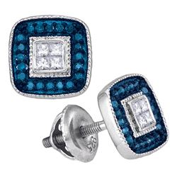 0.33 CTW Blue Color Diamond Square Cluster Earrings 10KT White Gold - REF-26M9H
