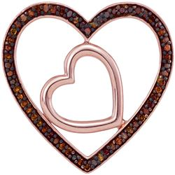 0.20 CTW Red Color Diamond Heart Love Pendant 10KT Rose Gold - REF-25K4W