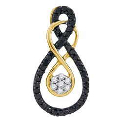 0.26 CTW Black Color Diamond Double Infinity Cluster Pendant 10KT Yellow Gold - REF-14M9H