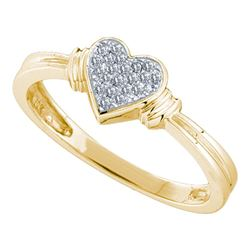 0.08 CTW Diamond Simple Heart Cluster Ring 10KT Yellow Gold - REF-14H9M