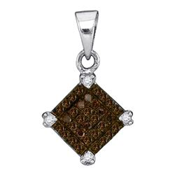 0.15 CTW Cognac-brown Color Diamond Square Pendant 10KT White Gold - REF-7Y4X