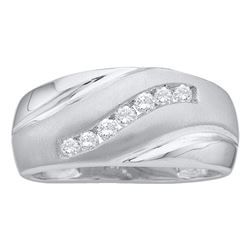 0.25 CTW Mens Diamond Single Row Brushed Wedding Ring 14KT White Gold - REF-30Y2X