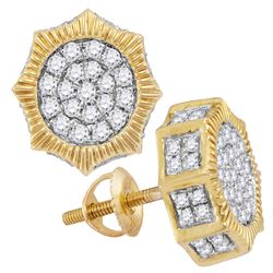 0.75 CTW Mens Diamond Starburst 3D Cluster Stud Earrings 10KT Yellow Gold - REF-57K2W