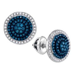 0.55 CTW Blue Color Diamond Cluster Earrings 10KT White Gold - REF-32N9F