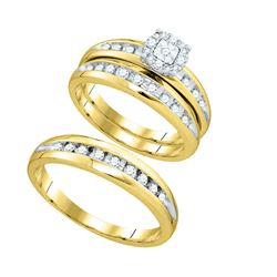 0.45 CTW Diamond Cluster Mens Matching Halo Trio Bridal Ring 10KT Yellow Gold - REF-49F5N