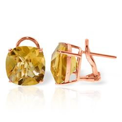 Genuine 7.2 ctw Citrine Earrings Jewelry 14KT Rose Gold - REF-46Z5N