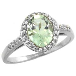 Natural 1.3 ctw Green-amethyst & Diamond Engagement Ring 14K White Gold - REF-32H2W