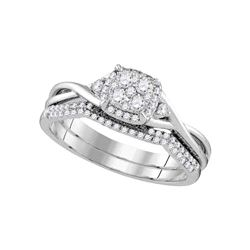 0.38 CTW Diamond Cluster Bridal Engagement Ring 14k White Gold - REF-64K4W