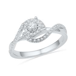 0.20 CTW Diamond Solitaire Swirl Bridal Engagement Ring 10KT White Gold - REF-22K4W