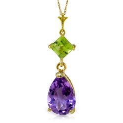 Genuine 2 ctw Amethyst & Peridot Necklace Jewelry 14KT Yellow Gold - REF-24Y3F