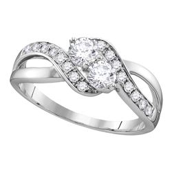 0.60 CTW Diamond 2-stone Hearts Together Bridal Ring 10KT White Gold - REF-75Y2X