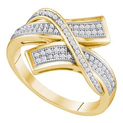 0.25 CTW Pave-set Diamond Crossover Bypass Ring 10KT Yellow Gold - REF-30H2M
