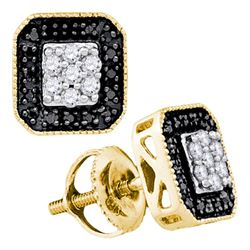 0.25 CTW Black Color Diamond Square Cluster Earrings 10KT Yellow Gold - REF-19N4F
