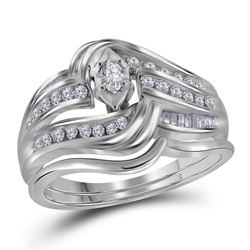 0.47 CTW Marquise Diamond Bridal Engagement Ring 14KT White Gold - REF-75Y2X