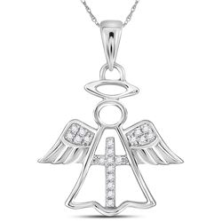 0.05 CTW Diamond Angel Cross Pendant 14KT White Gold - REF-12X2Y