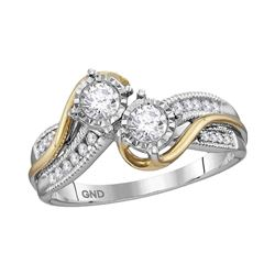 0.53 CTW Diamond 2-stone Bridal Wedding Engagement Ring 14KT Two-tone Gold - REF-89N9F