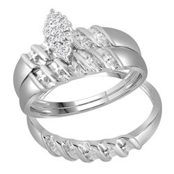 0.11 CTW His & Hers Diamond Cluster Matching Bridal Ring 14KT White Gold - REF-41K3W