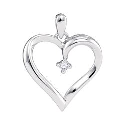 0.04 CTW Diamond Heart Love Pendant 10KT White Gold - REF-9Y7X