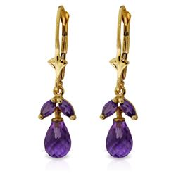 Genuine 3.4 ctw Amethyst Earrings Jewelry 14KT Yellow Gold - REF-26P6H