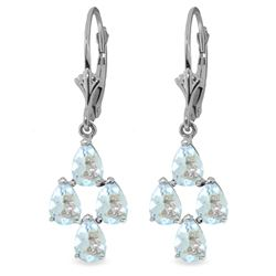 Genuine 3.9 ctw Aquamarine Earrings Jewelry 14KT White Gold - REF-51M8T