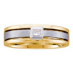 0.15 CTW Mens Princess Diamond Wedding Ring 14KT Two-tone Gold - REF-63W8K
